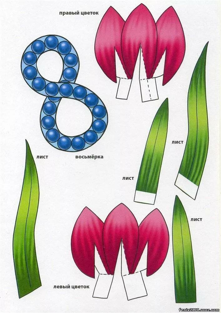 Сделать своими, шаблоны на открытку к 8 марта 1 класс