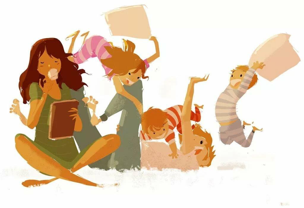 Дню рождения, картинки мама и дети нарисованные смешные