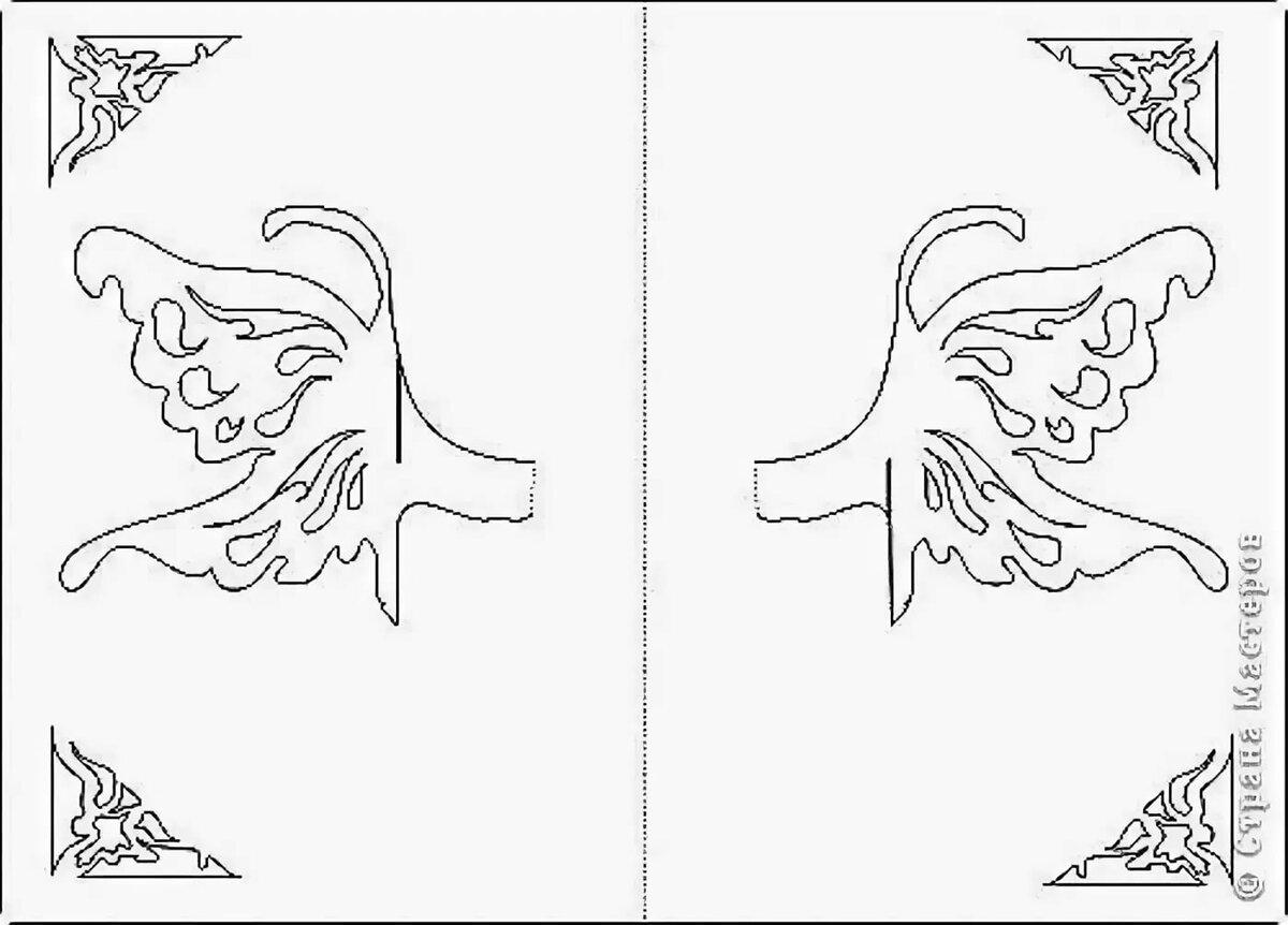 Открытка киригами шаблон, новогодние открытки татарском