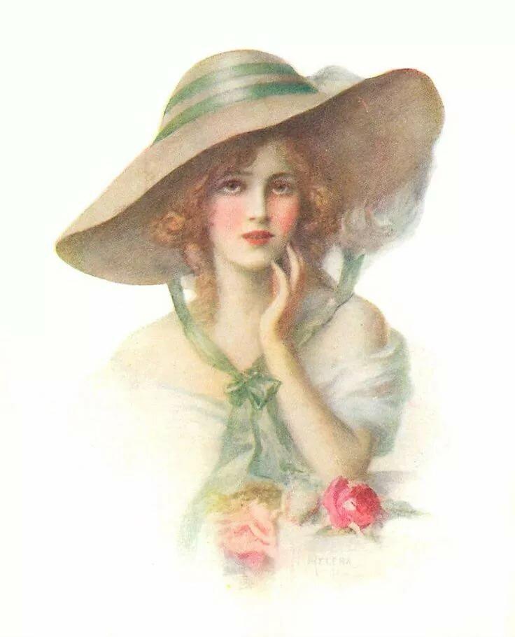 Год, открытки женщина в шляпе
