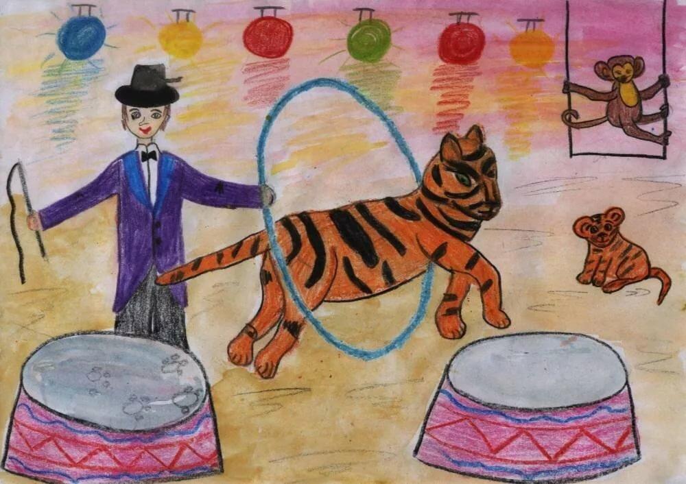 Картинки на тему цирк карандашом защищались
