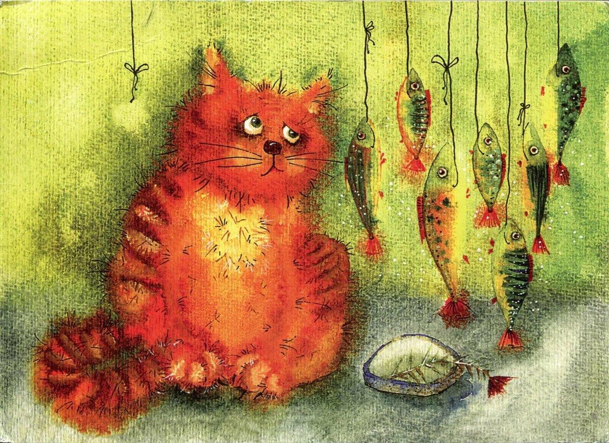 Рисунки рыжих котов смешные, марта открытки