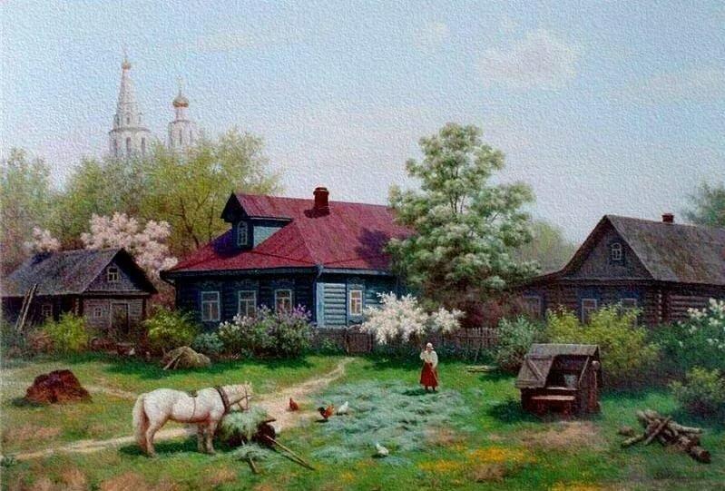 Картинки утро в деревне весна, поздравление