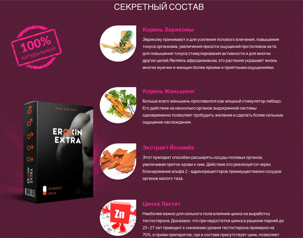 Капсулы для потенции Eroxin в Новокузнецке