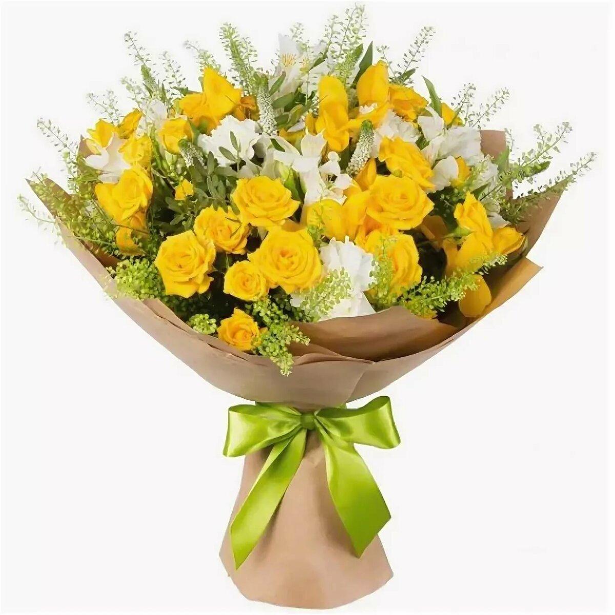 Букет из желтых роз и альстромерий, доставку цветов