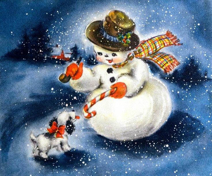 Открытка снеговик картинки, стихи