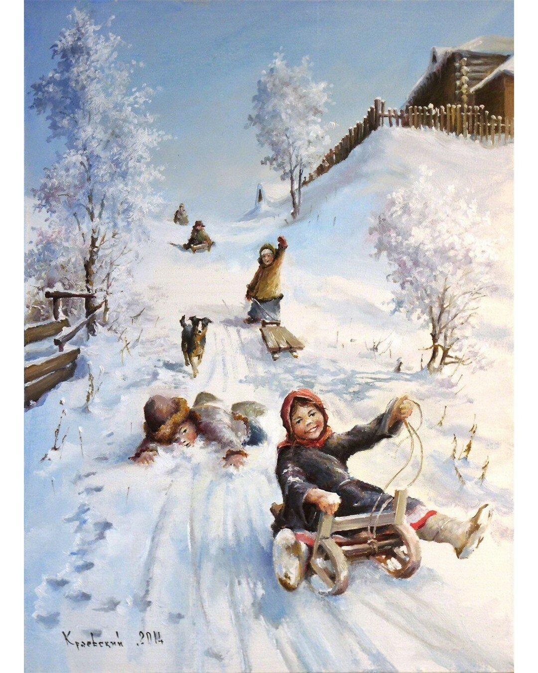 Картинки дети зимой в деревни