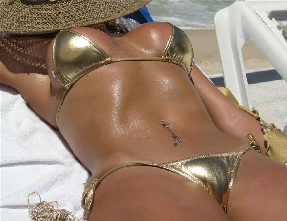 Gold bikini tit grab