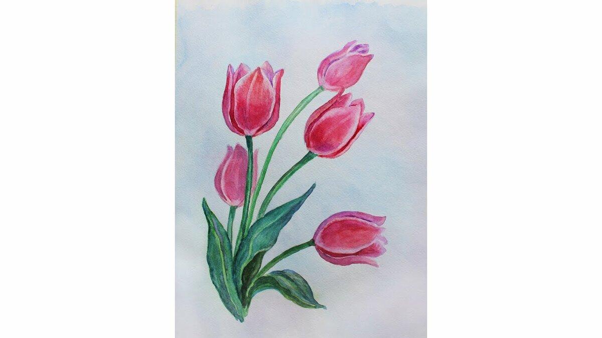Открытки на 8 марта рисуем красками, днем
