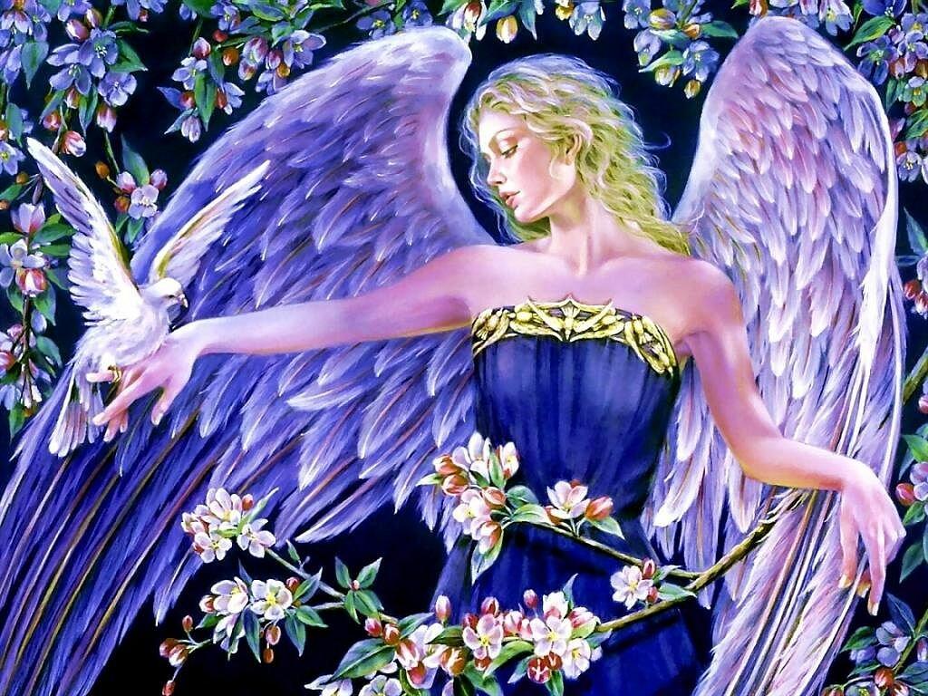 Открытки цветы и ангел, анимации она