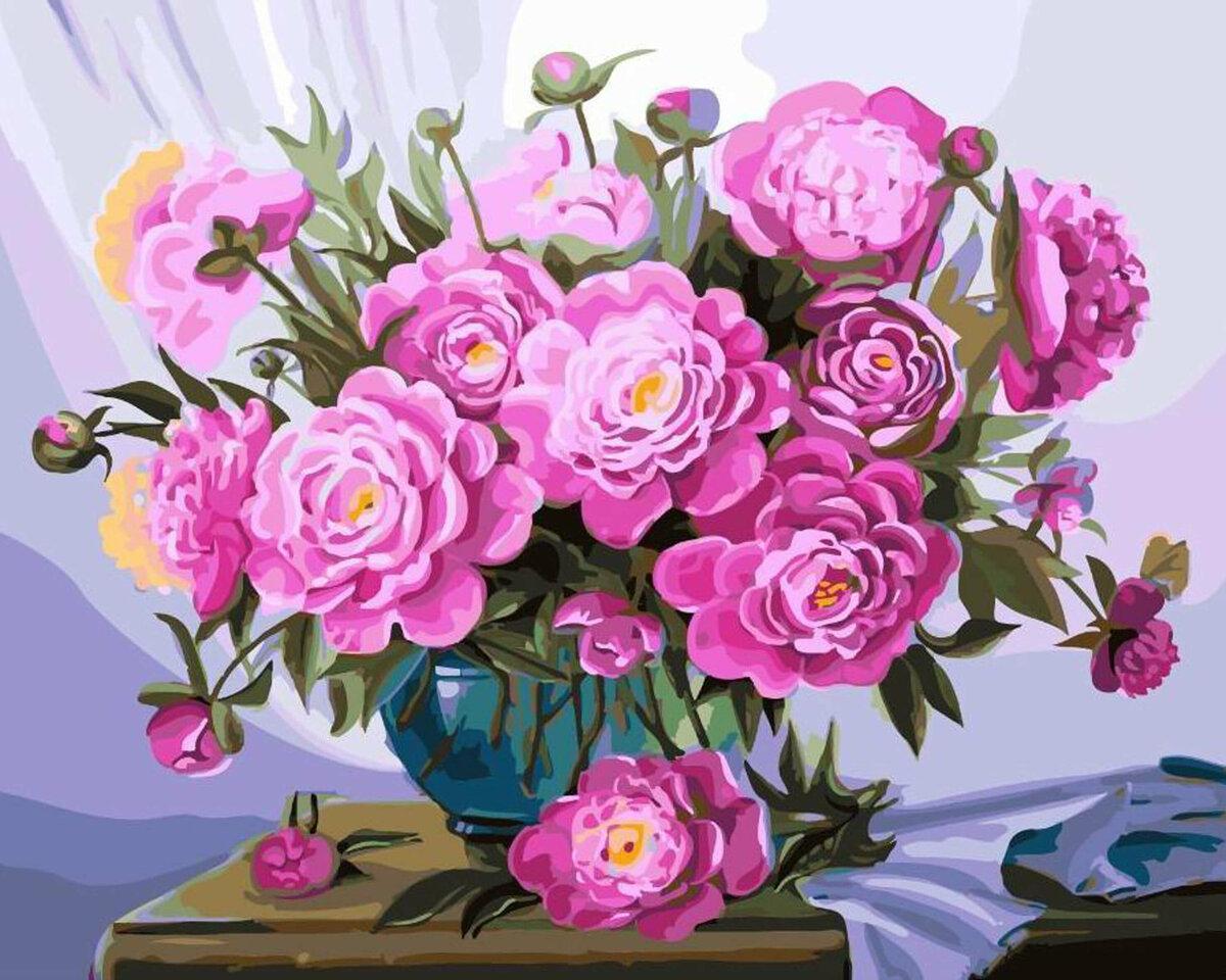 Рождением, картина с цветами открытки
