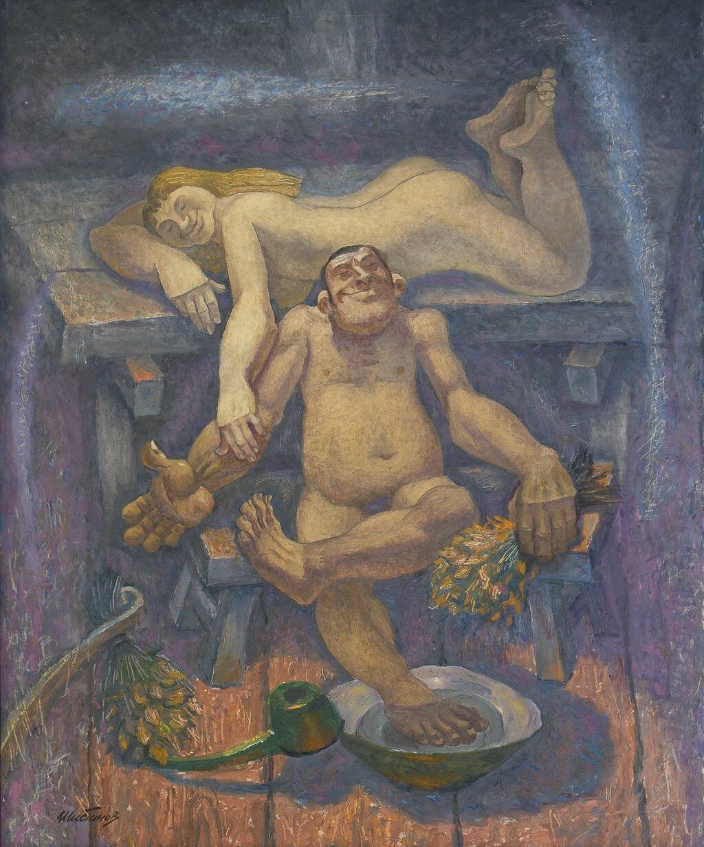 Русская баня в картинках художников, клеить открытки