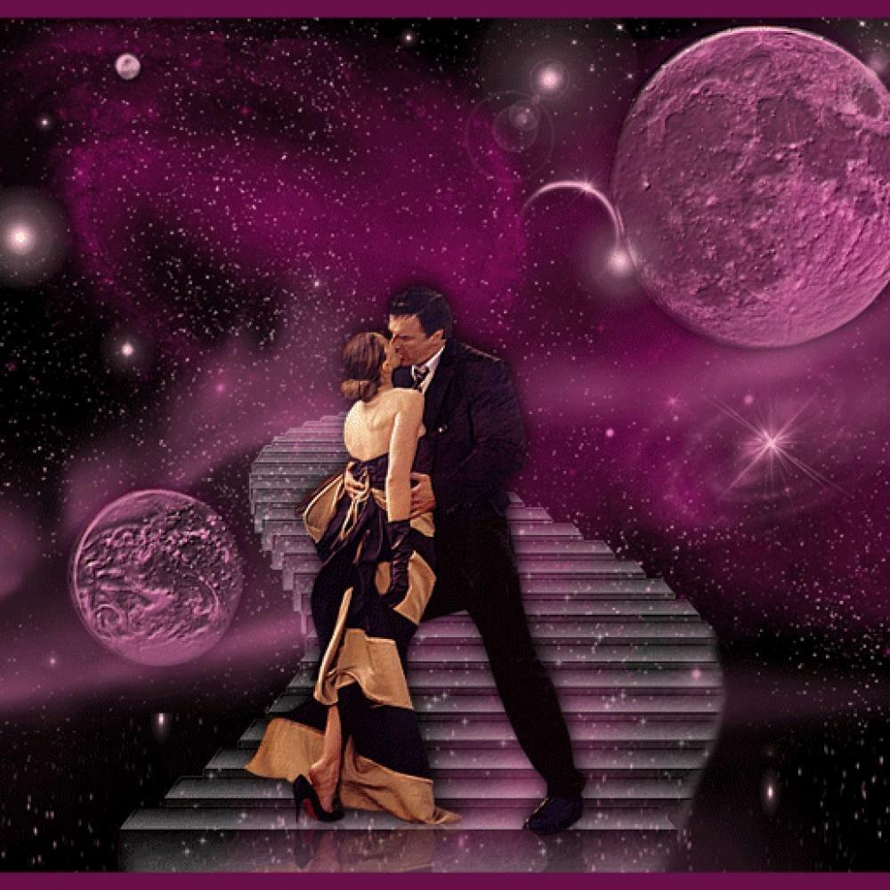 Анимация мужчина и женщина танцуют на земном шаре