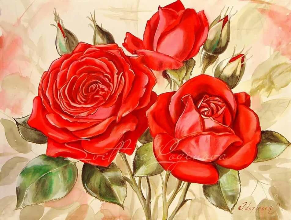 Открытки рисованные розы