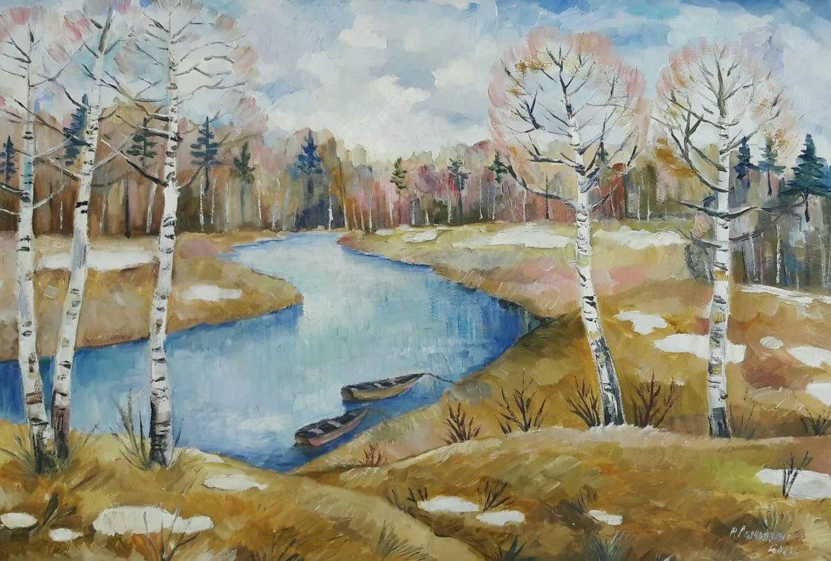весна как рисовать лагуны соседствуют сосновыми