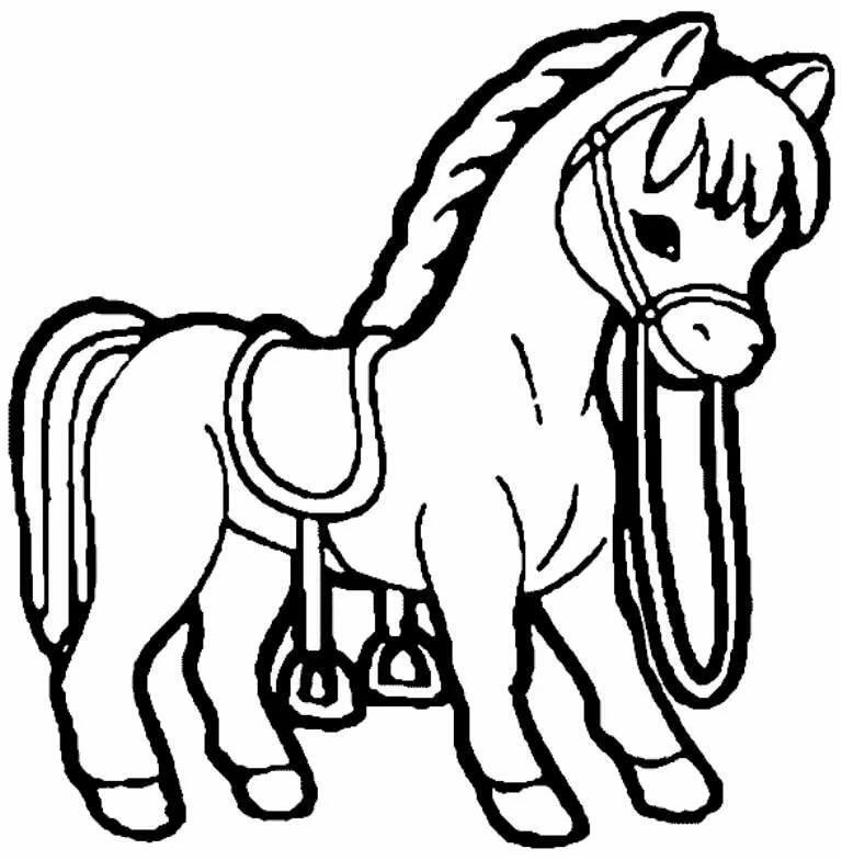 Черно белая картинка лошади для детей