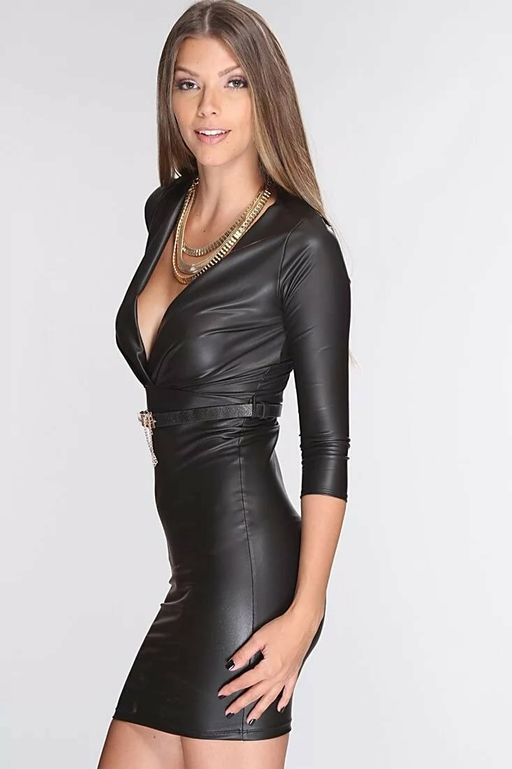 Sexy nude girls in leather dresses — photo 4