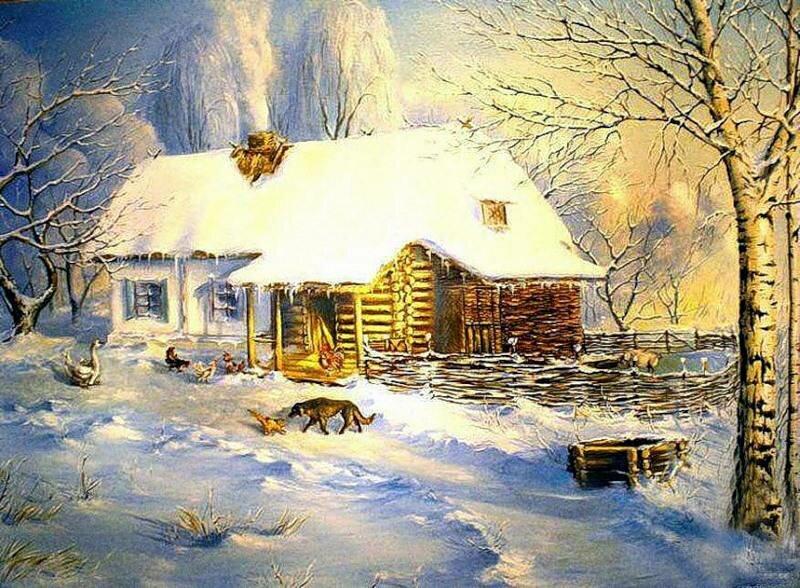 Приколы про, открытки зима в деревне