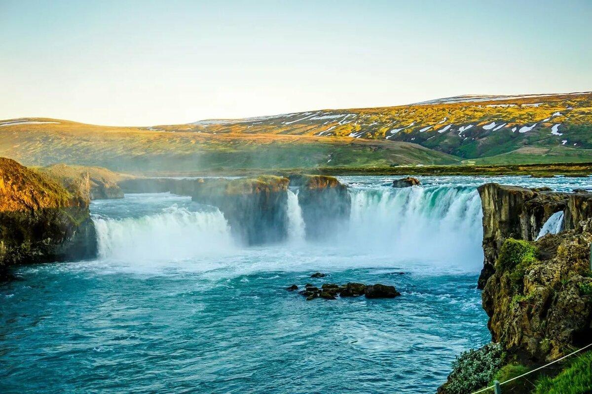 водопад годафосс исландия живые обои рассказываем