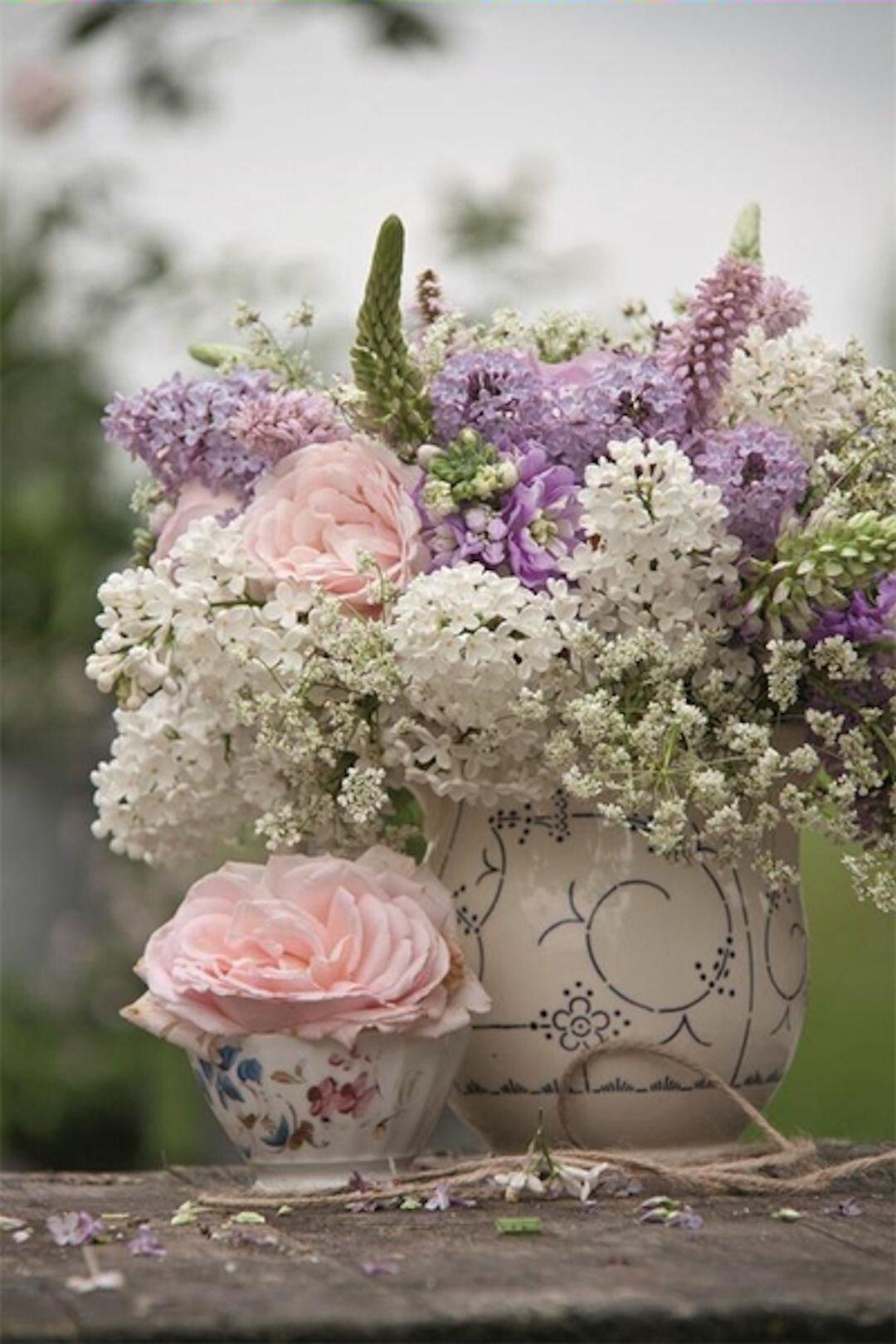 Картинки с цветами в стиле прованс, днем
