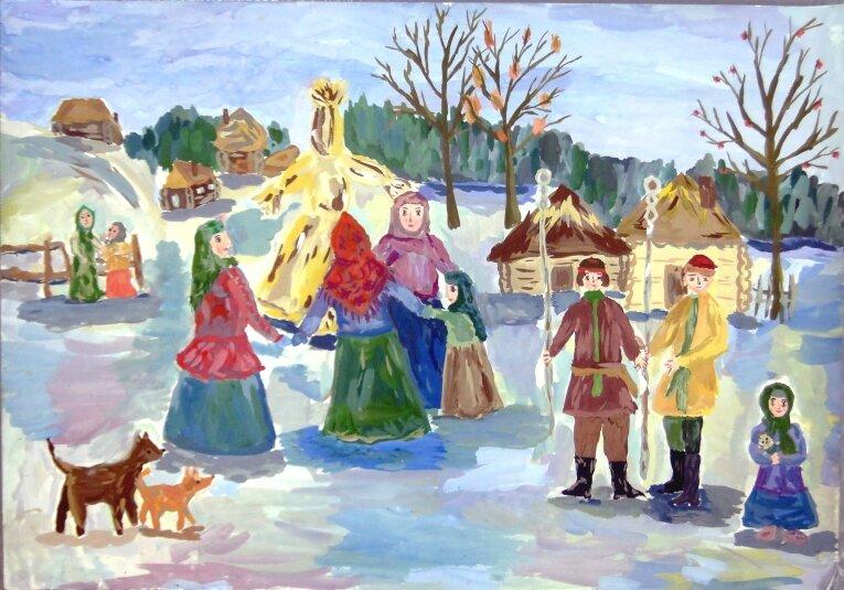 Картинки народных праздников для детей, цветная бумага ножницы