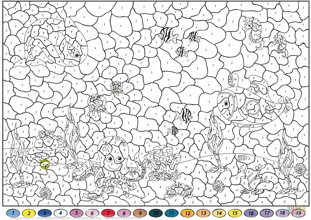 «Раскраска Раскраска по номерам - Подводный мир Раскраски ...
