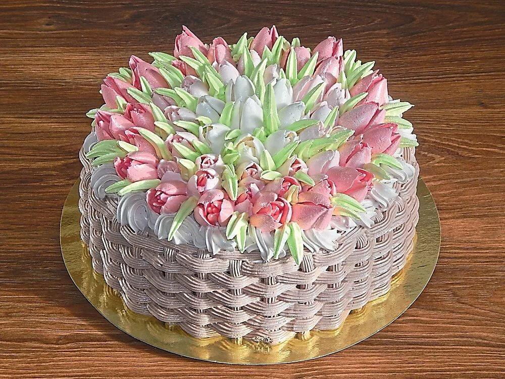 торты с тюльпанами из крема фото