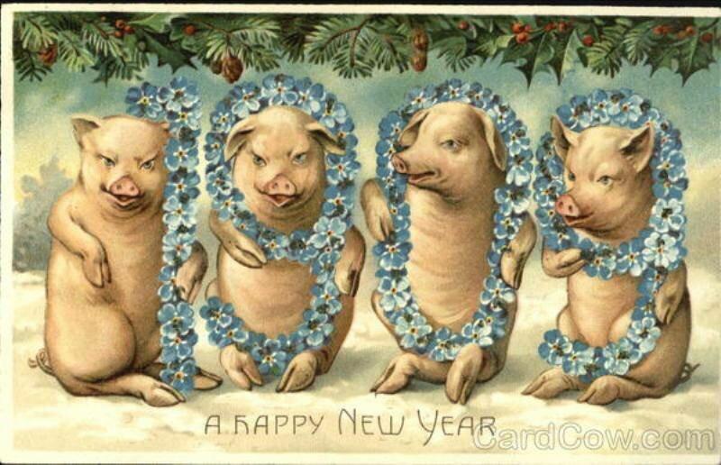 Дореволюционная открытка с новым годом свиньи