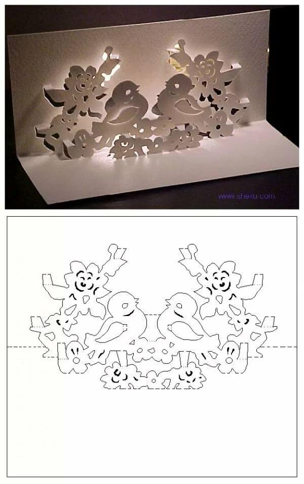 Киригами схемы шаблоны открыток
