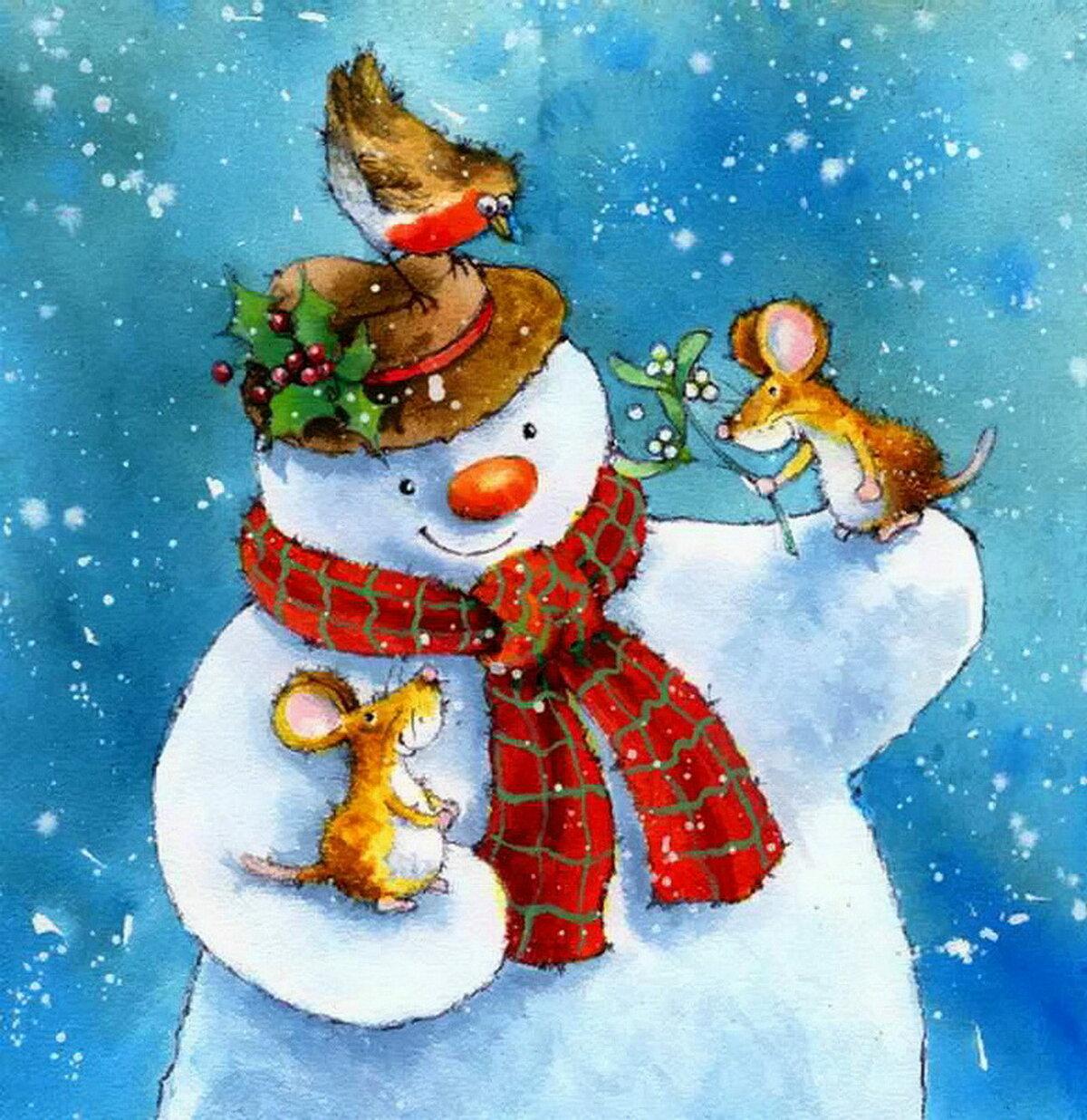 Детские рисованные открытки с новым годом