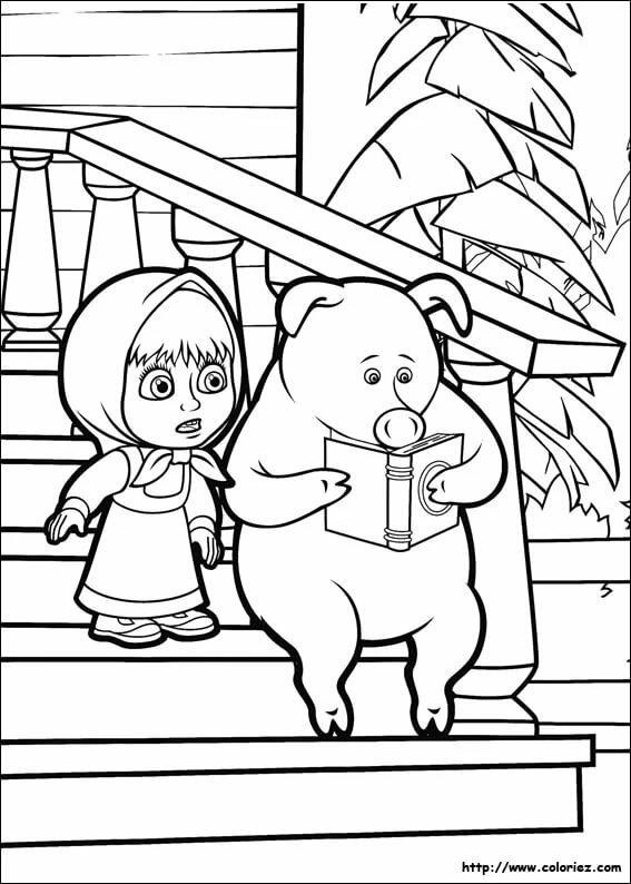 картинки для раскраски маша и медведь в новый год вот