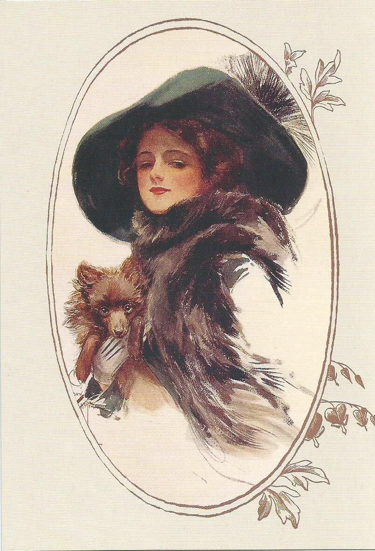 Девушка в шубе открытка