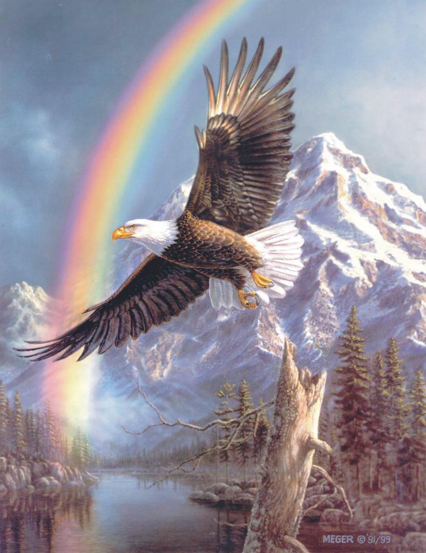 Анимация с наступающим новым годом 2019 парящего орла, надписи