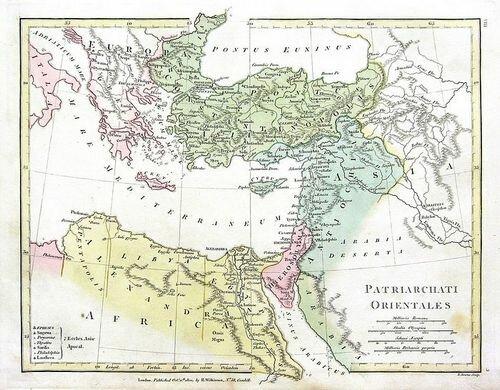 Карта Пентархии Юстиниана, с почти всей современной Грецией под Римом. Император Лев III Исавр переместил границу Константинопольского патриархата западу и к северу в VIII веке.
