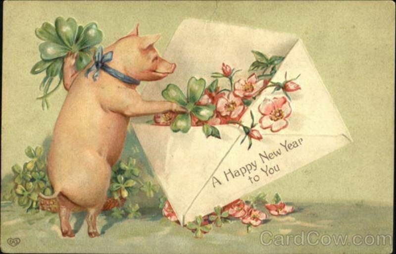 С новым годом свинки открытка