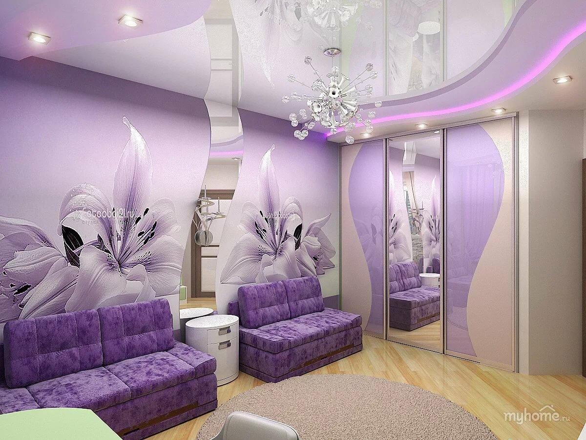 Оформление натяжного фиолетового потолка фото