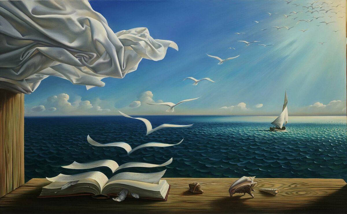 Download wallpaper sea, wave, clouds, birds, picture, horizo