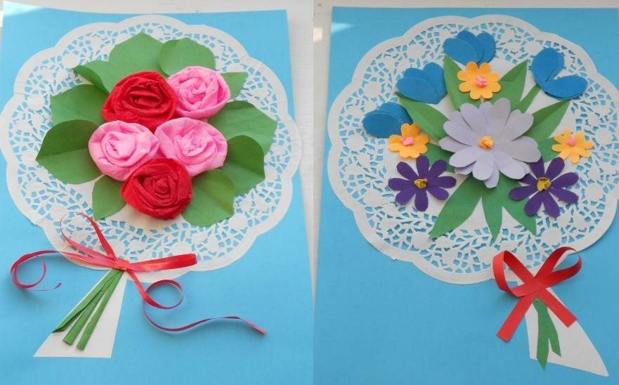 Цветы из гофрированной бумаги открытка на 8 марта, открыть открытку