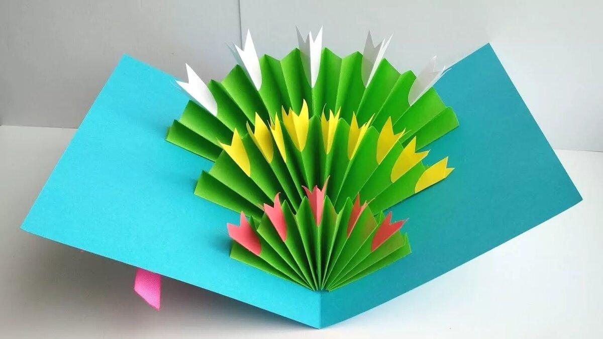Как из цветной бумаги сделать открытку на 8 марта