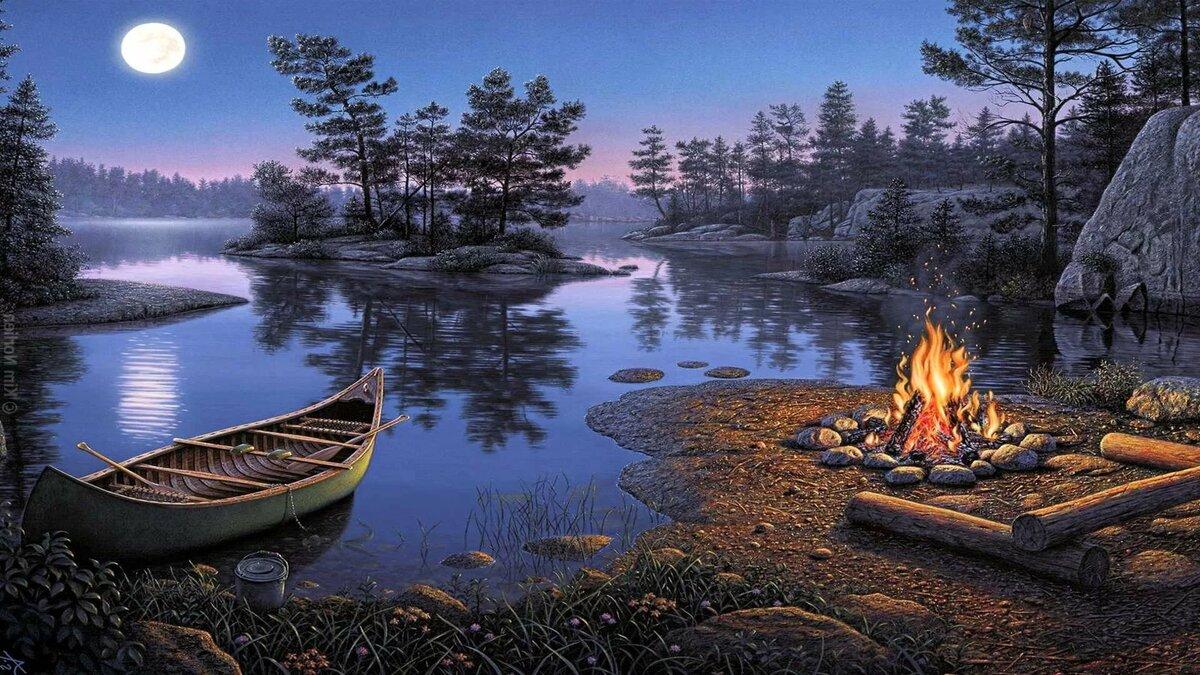 Тебе солдат, открытка с озером