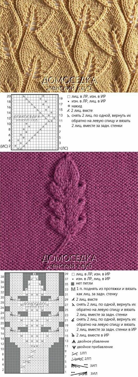 Рисунок листья спицами с описанием