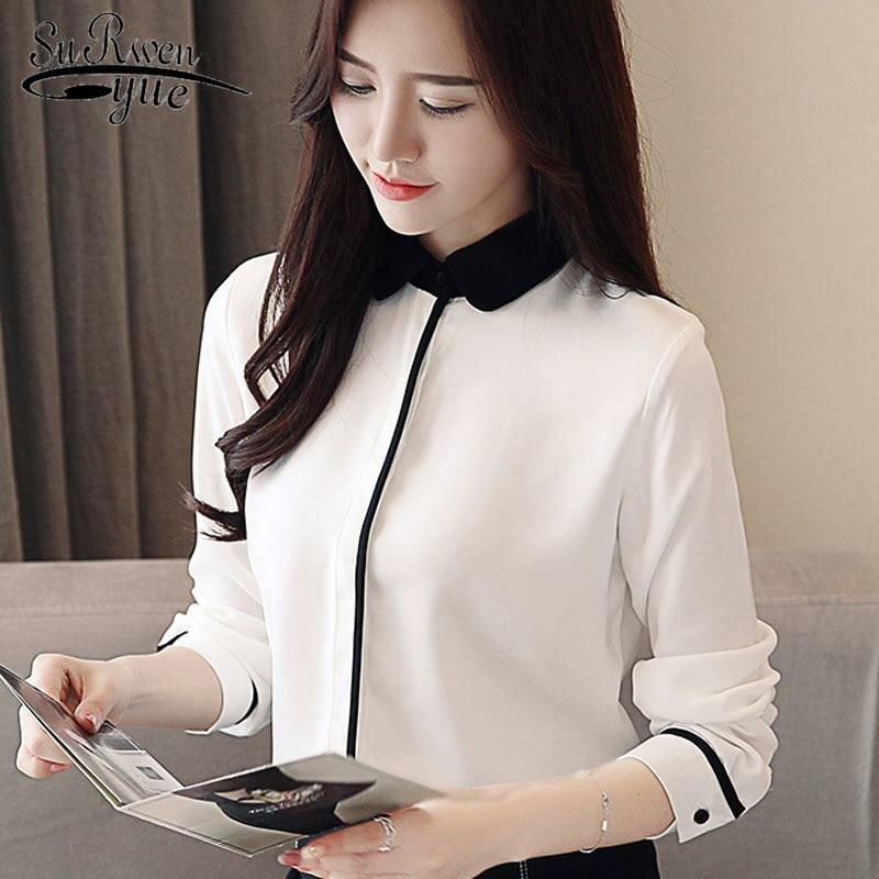8ac0c0cc4d7 ... Весна 2019 женская шифоновая блузка с длинным рукавом Женские рубашки  модные офисные женские белые блузки женские