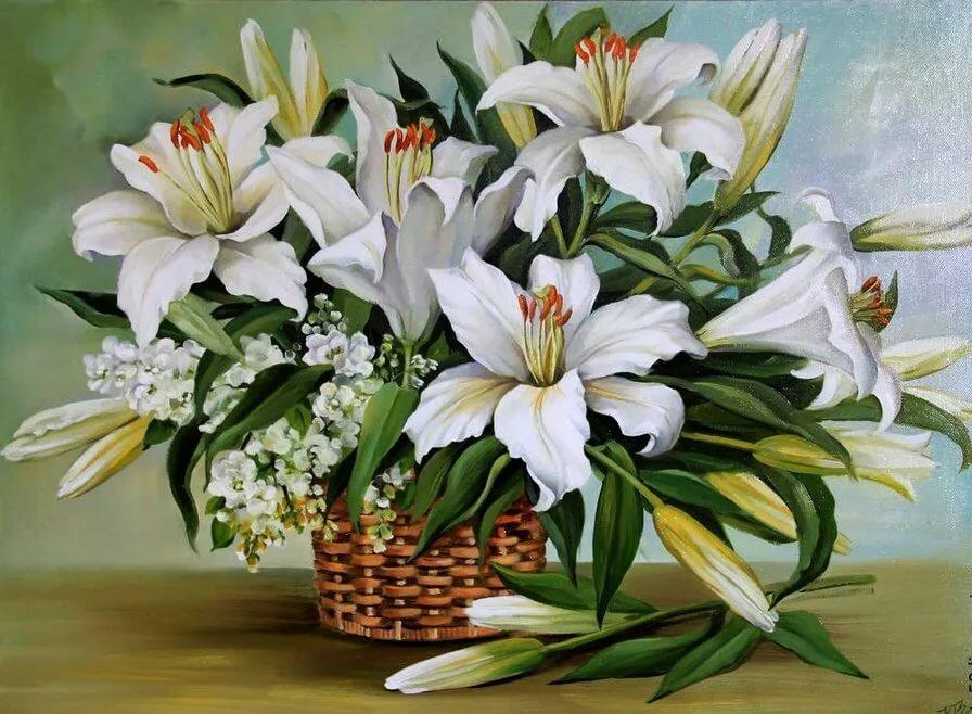 Открытки с цветами лилий, ньюфаундленд описание
