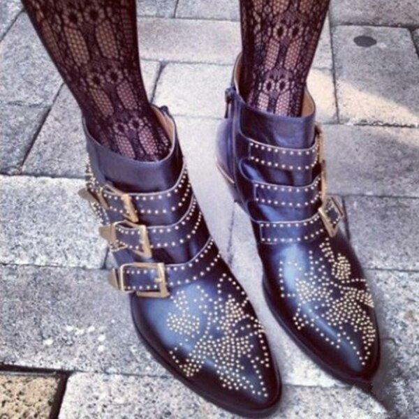 Модные стильные заклепками Ботильоны обувь с пряжкой на ремешке Для женщин  Роскошные острый носок квадратный каблук 468365caa2c8b