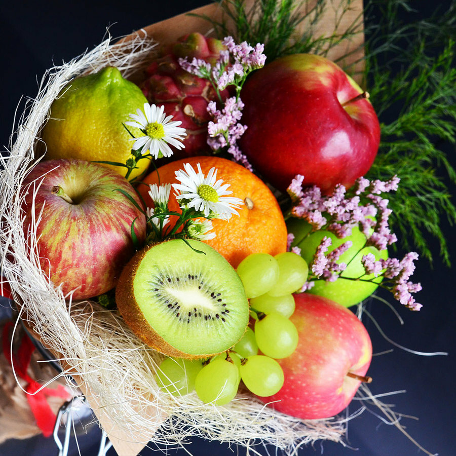 картинки букет из яблок бухтах