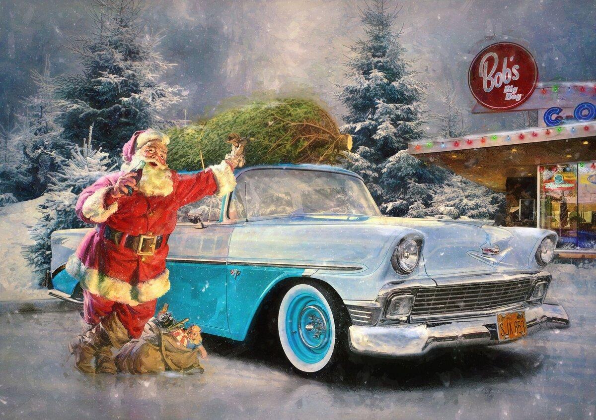 Новогодние открытки с машинками, днем