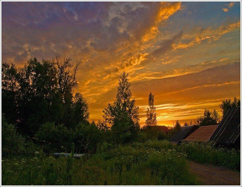 картинки лето вечер деревня очень сложная