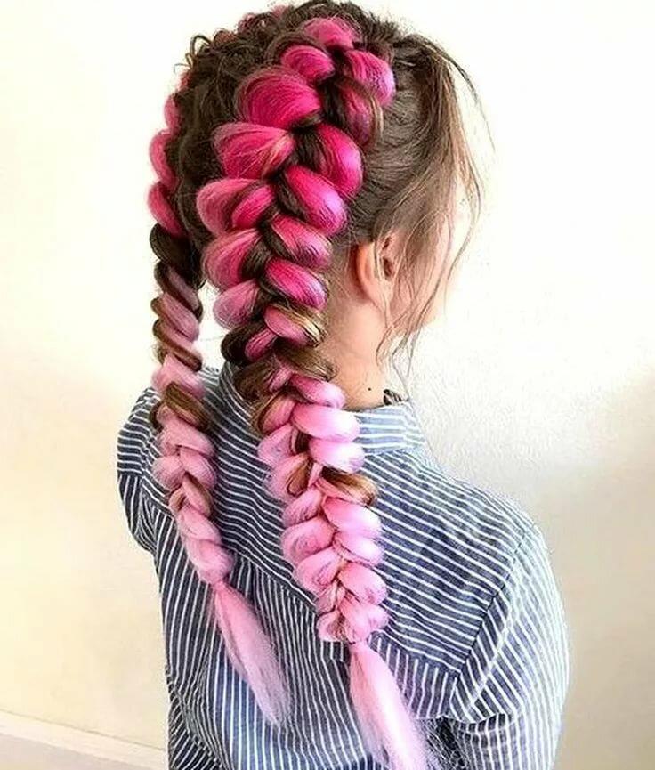 косички картинка розовая для