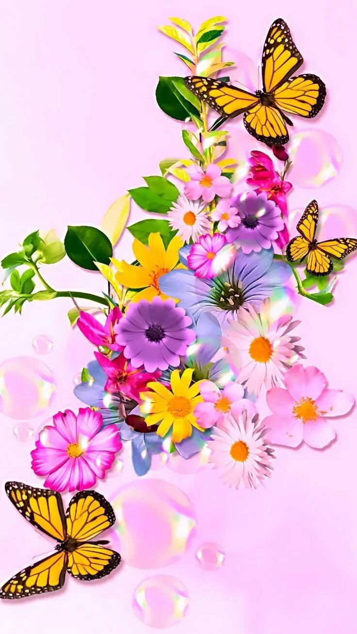 Открытки с цветами для мобильного