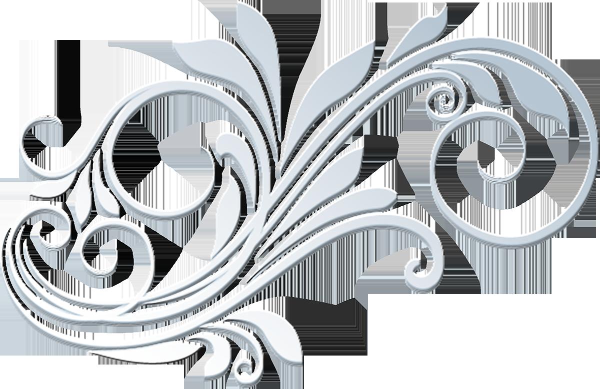 Надписью, картинка с вензелями на белом фоне